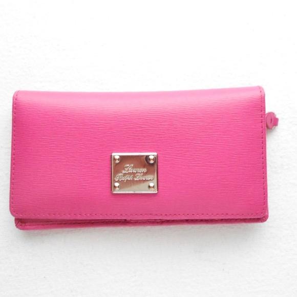 Lauren Ralph Lauren Pink Leather Clutch Wallet 40fec7f0cdb04
